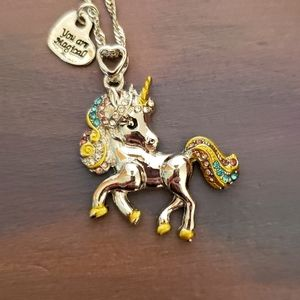 NWT Silver Unicorn Necklace w/Engraved Hea…